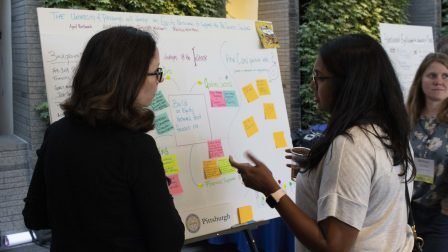 Two participants stand discussing a white board with writing and sticky notes on it.