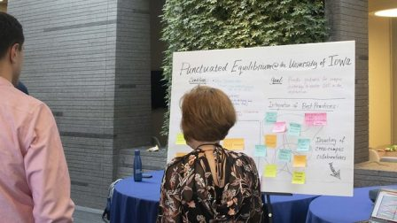 A participant stands in front of white board with writing and sticky notes on it, reading its content